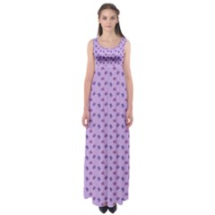 Pattern Background Violet Flowers Empire Waist Maxi Dress