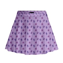 Pattern Background Violet Flowers Mini Flare Skirt