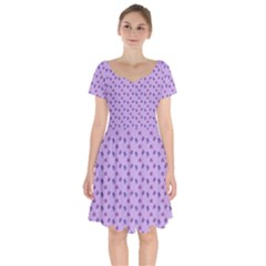Pattern Background Violet Flowers Short Sleeve Bardot Dress