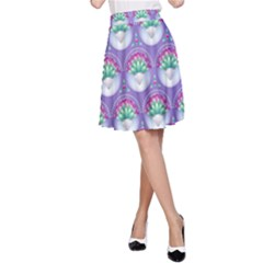 Background Floral Pattern Purple A Line Skirt