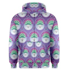 Background Floral Pattern Purple Men s Zipper Hoodie