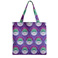 Background Floral Pattern Purple Zipper Grocery Tote Bag