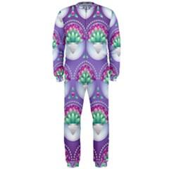 Background Floral Pattern Purple OnePiece Jumpsuit (Men)