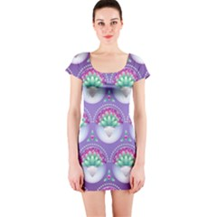 Background Floral Pattern Purple Short Sleeve Bodycon Dress