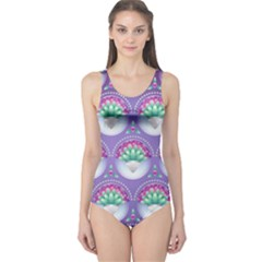 Background Floral Pattern Purple One Piece Swimsuit