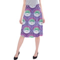Background Floral Pattern Purple Midi Beach Skirt