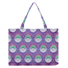 Background Floral Pattern Purple Medium Zipper Tote Bag