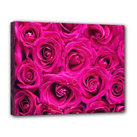 Pink Roses Roses Background Canvas 14  x 11
