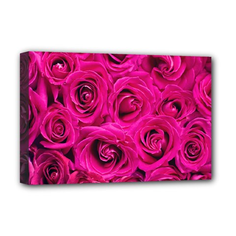 Pink Roses Roses Background Deluxe Canvas 18  x 12