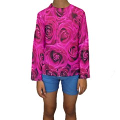 Pink Roses Roses Background Kids  Long Sleeve Swimwear