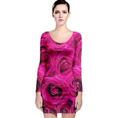 Pink Roses Roses Background Long Sleeve Bodycon Dress