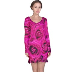 Pink Roses Roses Background Long Sleeve Nightdress