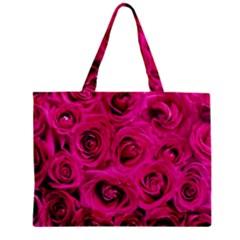 Pink Roses Roses Background Zipper Mini Tote Bag