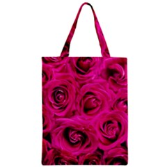 Pink Roses Roses Background Zipper Classic Tote Bag