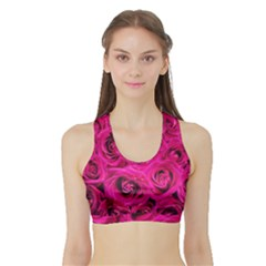 Pink Roses Roses Background Sports Bra With Border