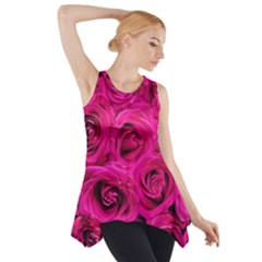 Pink Roses Roses Background Side Drop Tank Tunic
