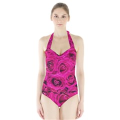 Pink Roses Roses Background Halter Swimsuit