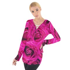 Pink Roses Roses Background Women s Tie Up Tee