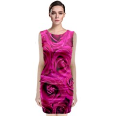 Pink Roses Roses Background Classic Sleeveless Midi Dress