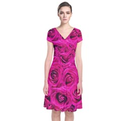 Pink Roses Roses Background Short Sleeve Front Wrap Dress