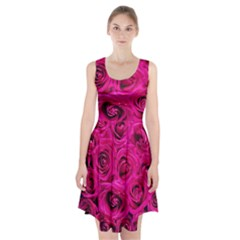 Pink Roses Roses Background Racerback Midi Dress