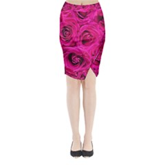 Pink Roses Roses Background Midi Wrap Pencil Skirt