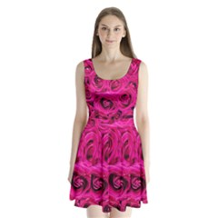 Pink Roses Roses Background Split Back Mini Dress