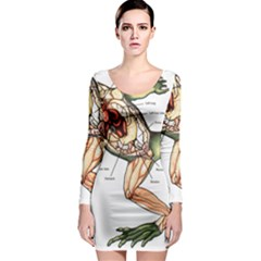 Disected Frog Cutting Board Long Sleeve Bodycon Dress