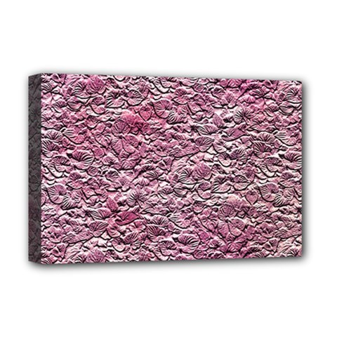 Leaves Pink Background Texture Deluxe Canvas 18  x 12