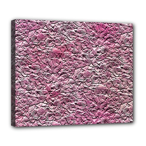 Leaves Pink Background Texture Deluxe Canvas 24  x 20