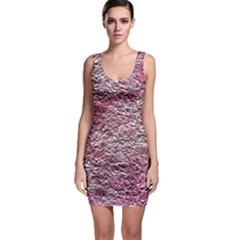 Leaves Pink Background Texture Sleeveless Bodycon Dress