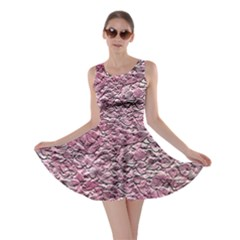 Leaves Pink Background Texture Skater Dress
