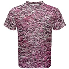 Leaves Pink Background Texture Men s Cotton Tee