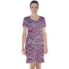 Leaves Pink Background Texture Short Sleeve Nightdress