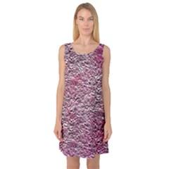 Leaves Pink Background Texture Sleeveless Satin Nightdress