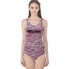 Leaves Pink Background Texture One Piece Swimsuit
