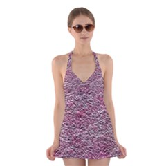 Leaves Pink Background Texture Halter Swimsuit Dress