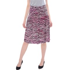 Leaves Pink Background Texture Midi Beach Skirt