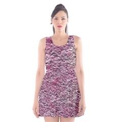 Leaves Pink Background Texture Scoop Neck Skater Dress
