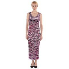 Leaves Pink Background Texture Fitted Maxi Dress