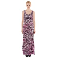 Leaves Pink Background Texture Maxi Thigh Split Dress