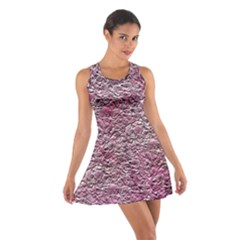 Leaves Pink Background Texture Cotton Racerback Dress