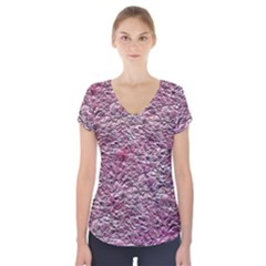 Leaves Pink Background Texture Short Sleeve Front Detail Top