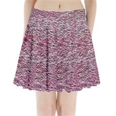 Leaves Pink Background Texture Pleated Mini Skirt