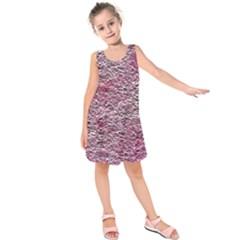 Leaves Pink Background Texture Kids  Sleeveless Dress