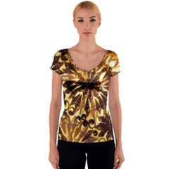 Mussels Lamp Star Pattern Women s V-Neck Cap Sleeve Top
