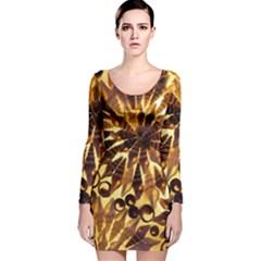 Mussels Lamp Star Pattern Long Sleeve Velvet Bodycon Dress