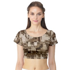 Color Abstract Background Textures Short Sleeve Crop Top (tight Fit)