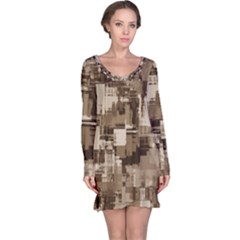 Color Abstract Background Textures Long Sleeve Nightdress