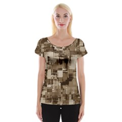 Color Abstract Background Textures Women s Cap Sleeve Top